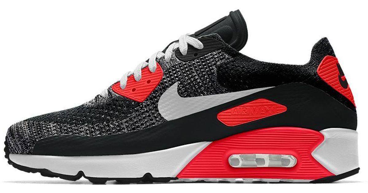 Nike Gray Air Max 90 Ultra 2.0 Flyknit Id Men's Shoe for men