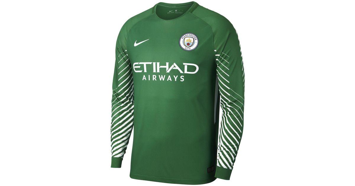 on sale de0e3 32381 Nike Green 2017/18 Manchester City Fc Stadium Goalkeeper Long-sleeve  Football Shirt for men
