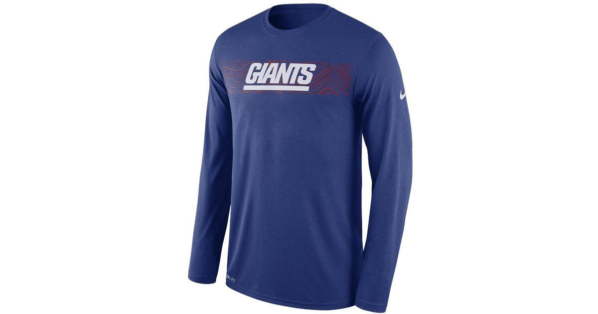 Lyst - Nike Dri-fit Legend Seismic (nfl Giants) Men s Long Sleeve T-shirt  in Blue for Men 232a7b966