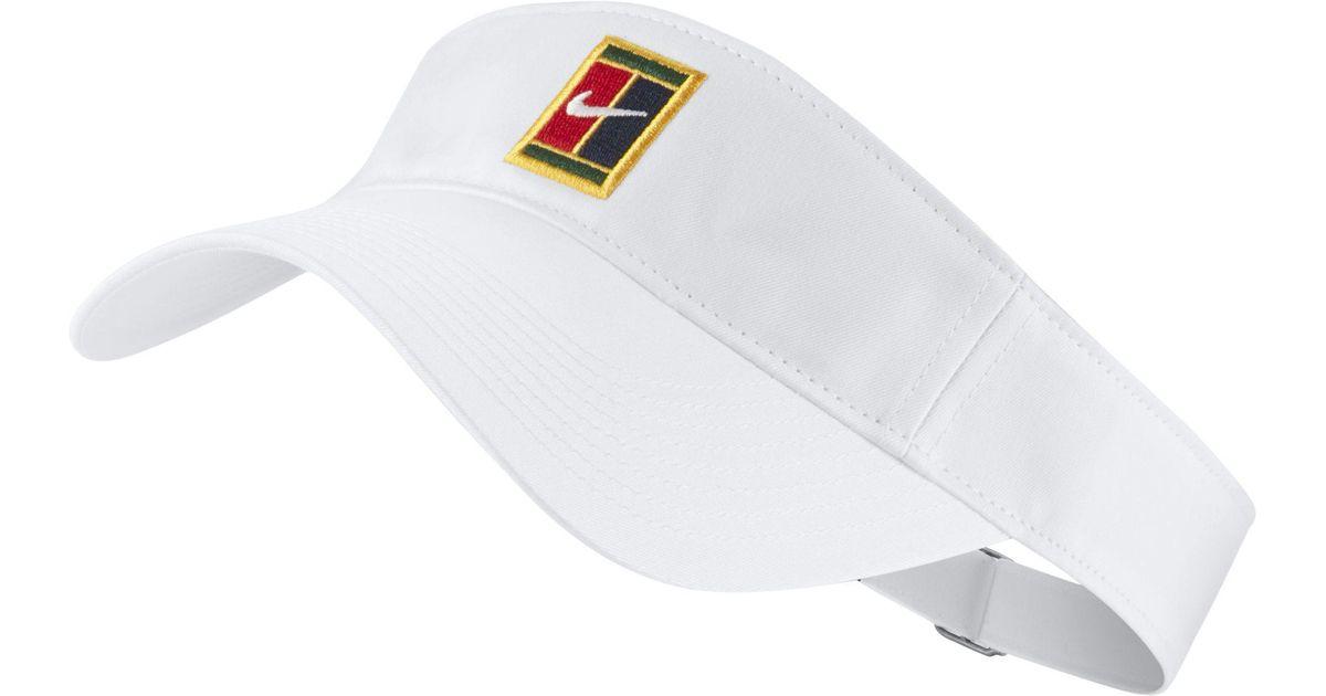 7be1ac74 Nike Heritage Tennis Visor in White - Lyst