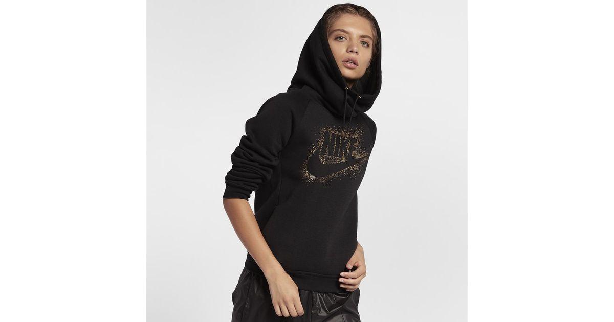 e051c3ff7ab8 Lyst - Nike Sportswear Rally Funnel Neck Women s Fleece Hoodie in Black