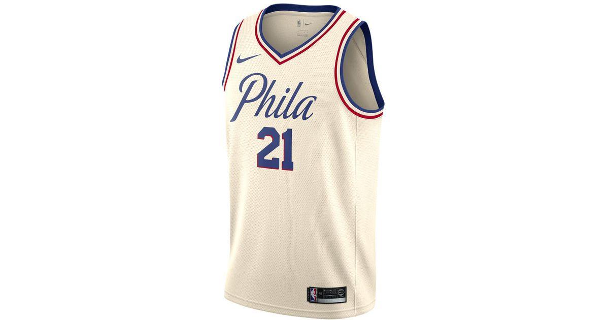 meet 84262 c9833 Nike Natural Joel Embiid City Edition Swingman Jersey (philadelphia 76ers)  Men's Nba Jersey for men