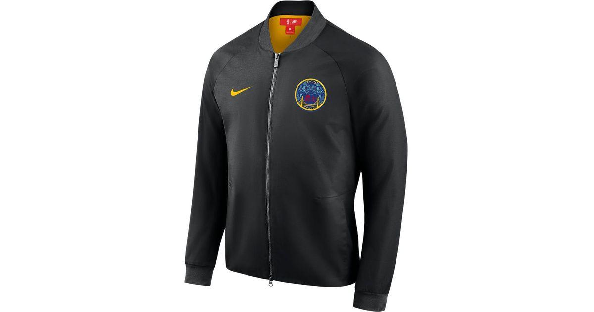 reputable site 06c85 6d4b2 Nike Golden State Warriors City Edition Modern Men s Nba Varsity Jacket in  Black for Men - Lyst