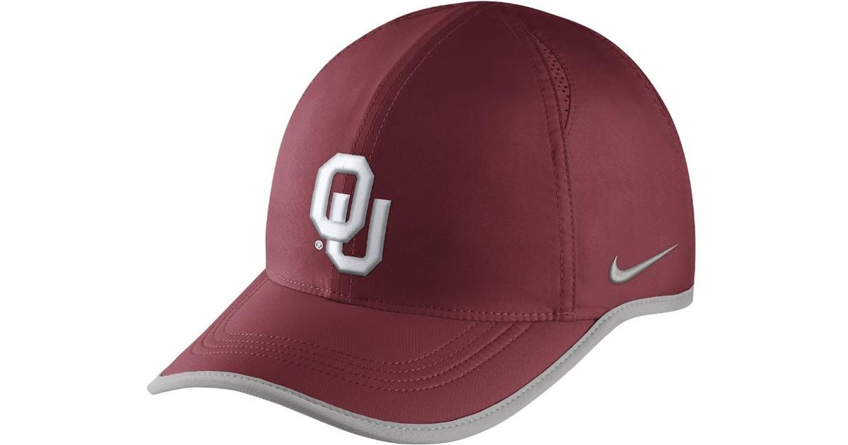 0bbc1a05063853 ... best price lyst nike college aerobill featherlight oklahoma adjustable  hat red clearance sale in red for