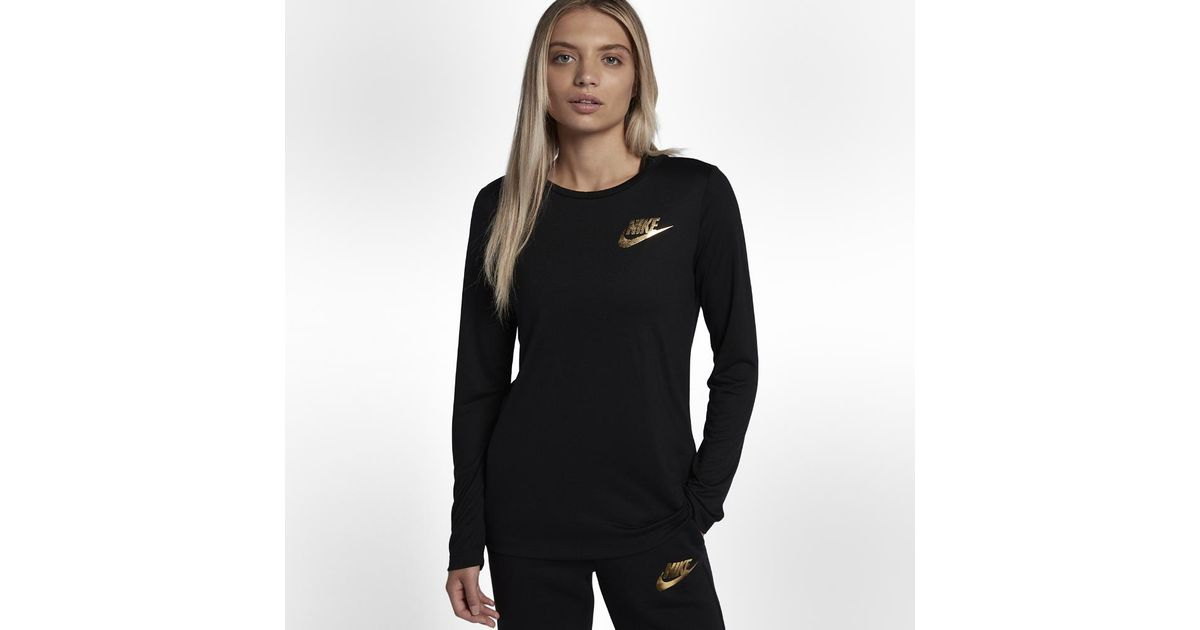 befd44ee3 Nike Sportswear Essential Metallic Women's Long Sleeve Top in Black - Lyst