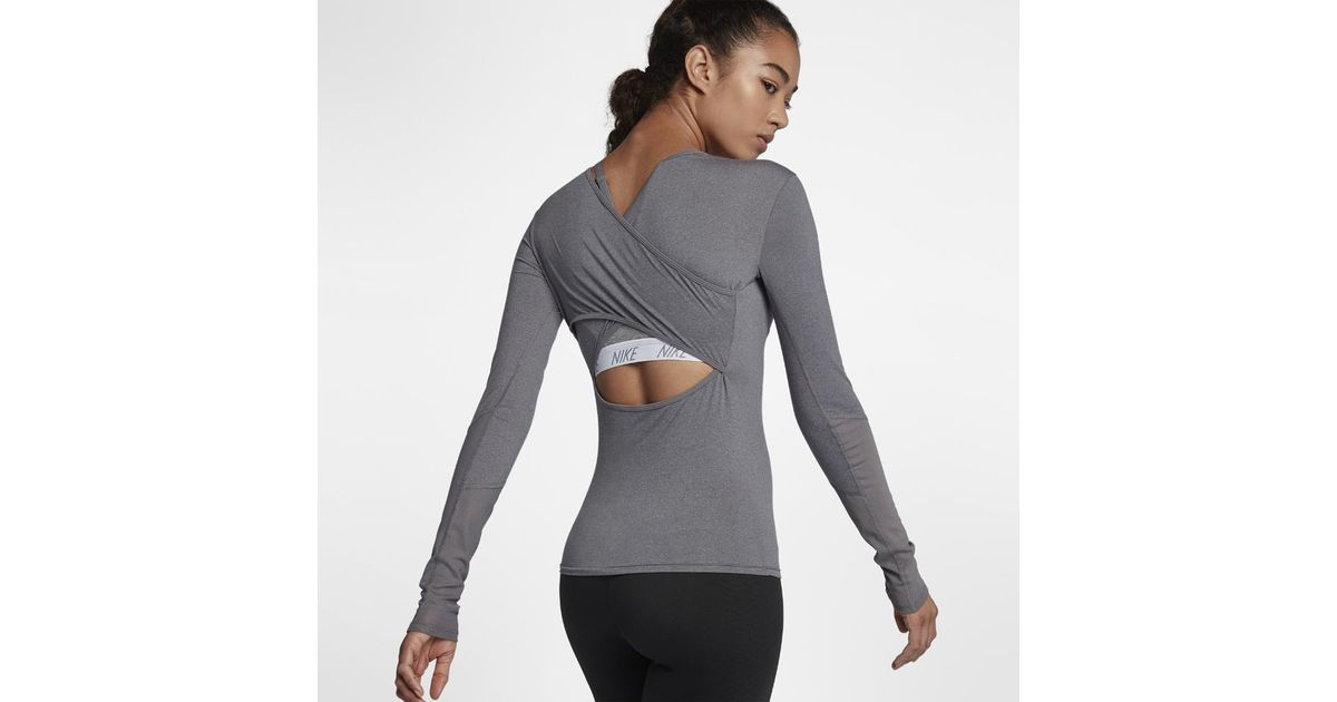 Nike Synthetic Dri Fit Women S Long Sleeve Training Top In Gray Lyst Shop for long sleeve dri fit online at target. nike gray dri fit women s long sleeve training top
