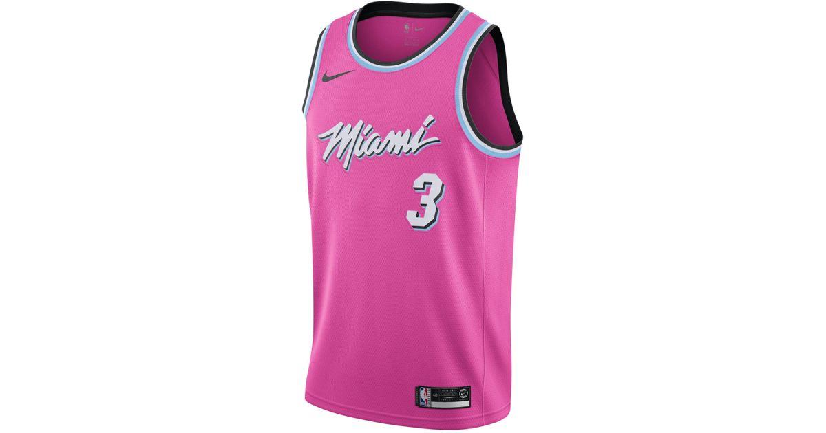 Maillot Connecte Nba Dwyane Wade Earned City Edition Swingman Miami Heat Pour Homme Synthetique Nike Pour Homme En Coloris Rose Lyst