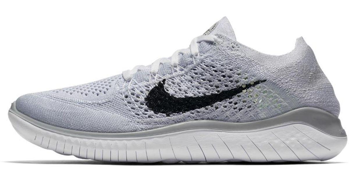 b7ae3638a6207 Lyst - Nike Free Rn Flyknit 2018 Women s Running Shoe in White