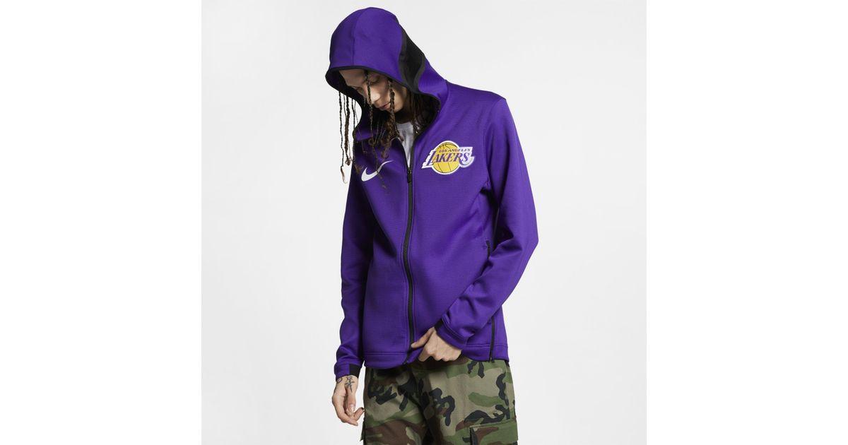 446b9cd2 Nike Los Angeles Lakers Therma Flex Showtime Nba Hoodie in Purple for Men -  Lyst
