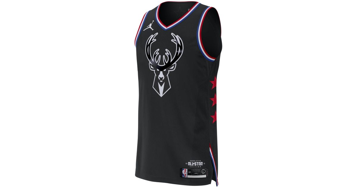 the latest a55fb 20dc3 Nike Black Giannis Antetokounmpo All-star Edition Authentic Jordan Nba  Connected Jersey for men