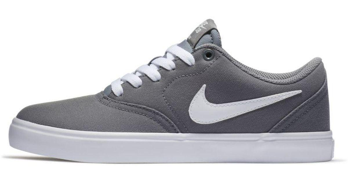 Nike Sb Check Solarsoft Canvas Skateboarding Shoe in Cool Grey ...