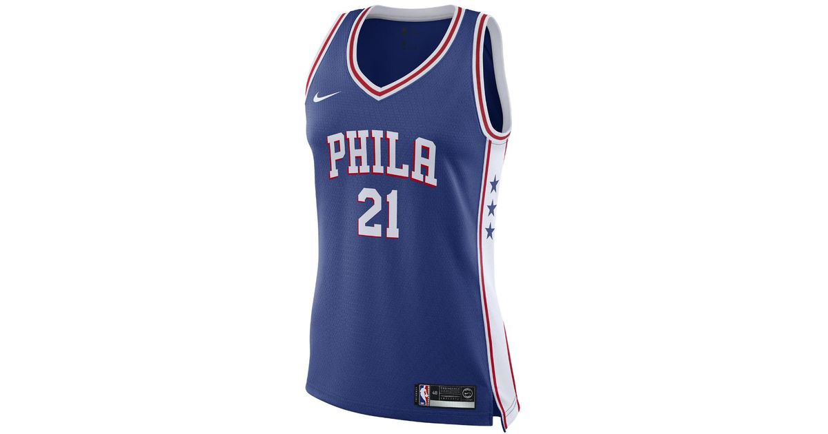 da9ecf3e331c5 Nike Blue Joel Embiid Icon Edition Swingman (philadelphia 76ers) Nba  Connected Jersey