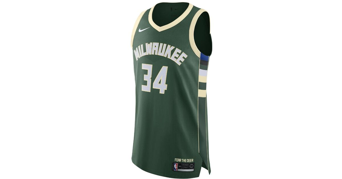 timeless design be86f 24895 Nike Green Giannis Antetokounmpo Icon Edition Authentic Jersey (milwaukee  Bucks) Men's Nba Connected Jersey for men