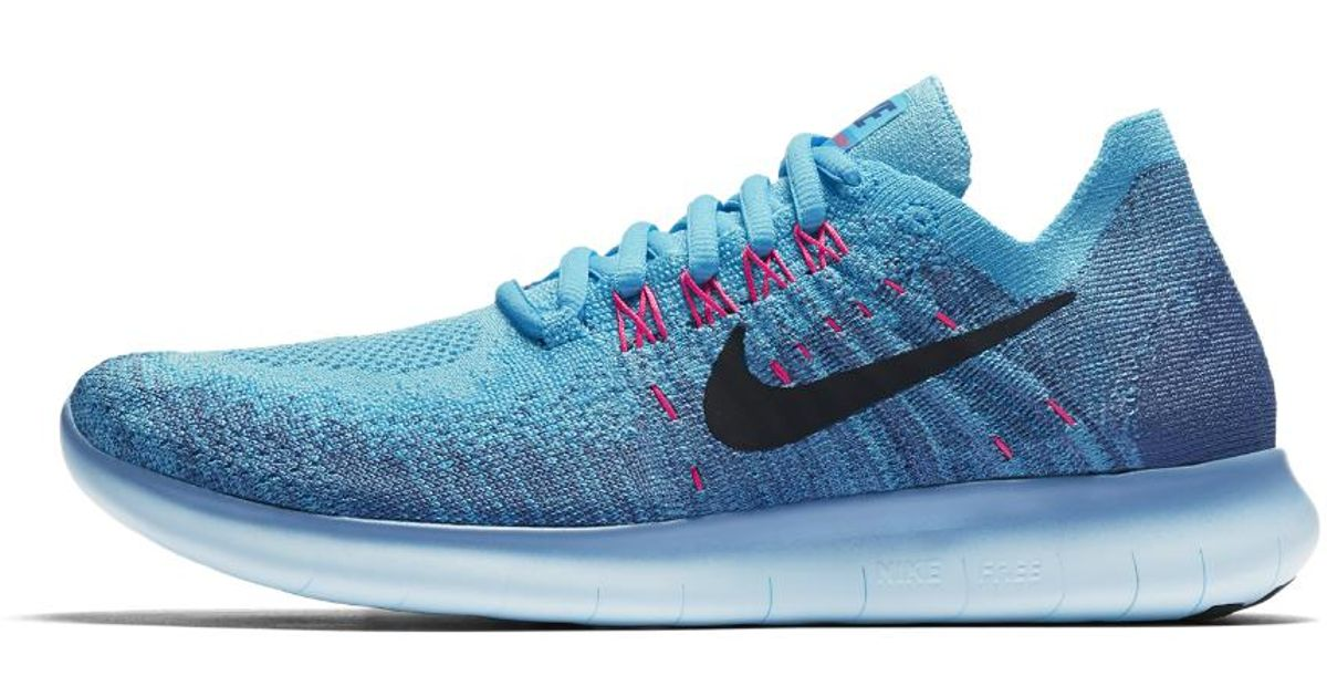 dc495f871487c ... buy lyst nike free rn flyknit 2017 womens running shoe in blue b2870  1e1b2