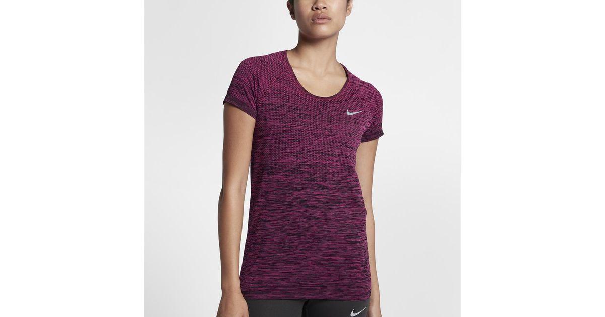 Nike Purple Dri fit Knit Women's Short Sleeve Running Top