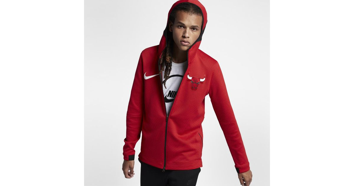765c5e5175f1 Lyst - Nike Chicago Bulls Therma Flex Showtime Men s Nba Hoodie in Red for  Men