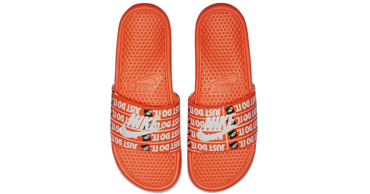 ec078811c3f6 Lyst - Nike Benassi Just Do It Print Men s Slide Sandal in Orange for Men -  Save 68%