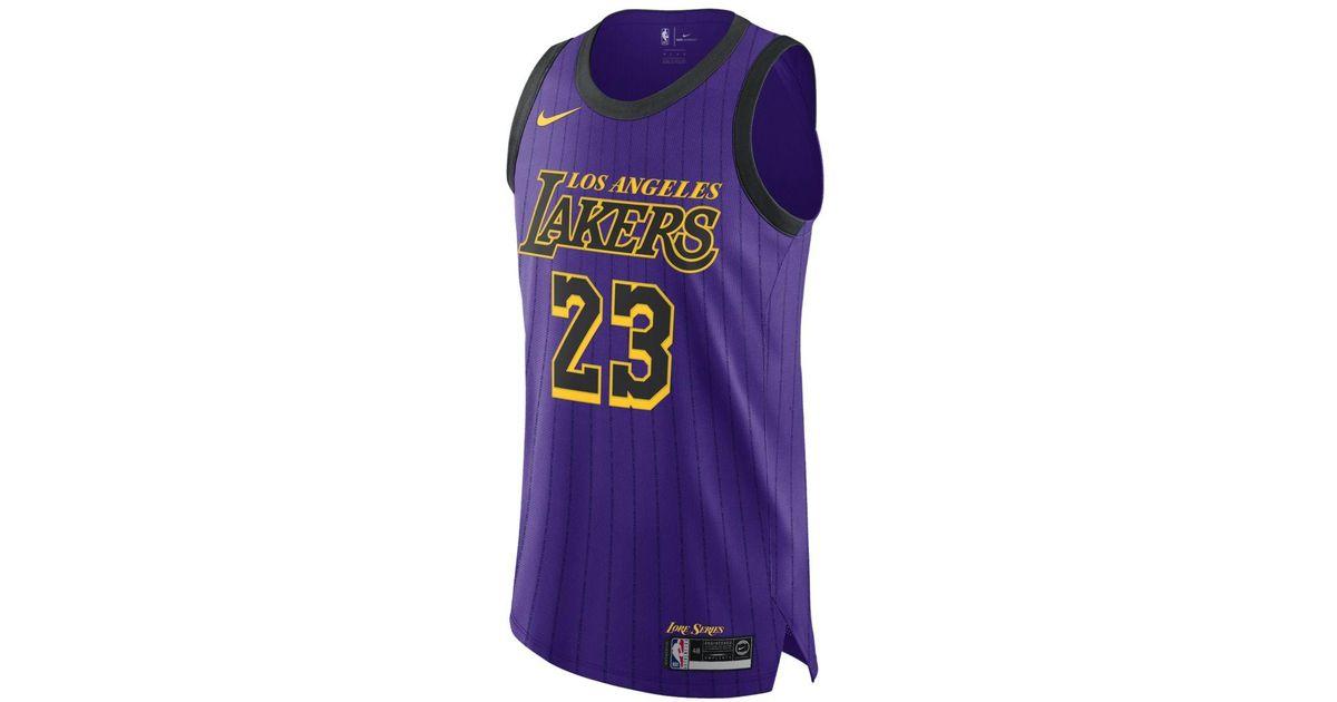 outlet store 89a18 5446f Nike Purple Lebron James Los Angeles Lakers City Swingman Jersey 2018 for  men