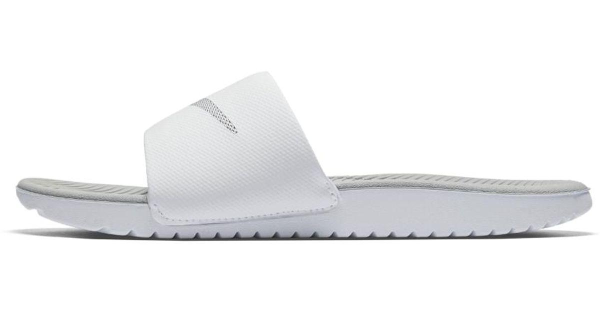 huge discount 0051c 365bc Nike Kawa Women s Slide Sandal in White - Lyst