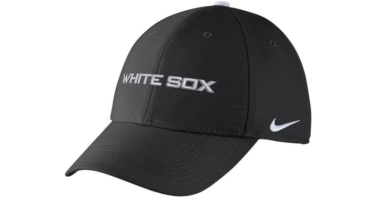 853f0533ee99b ... ebay lyst nike l91 swoosh flex mlb white sox fitted hat in black for  men 9f6d9 ...