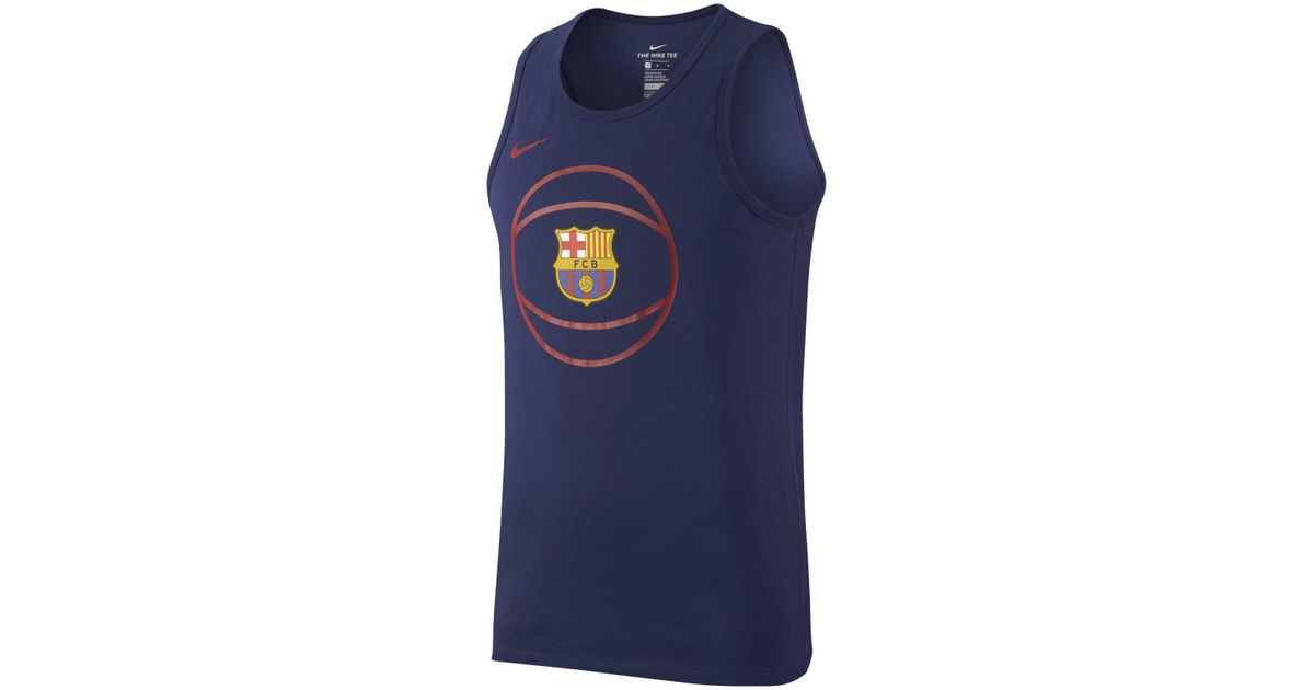 detailed pictures 5ccd2 9db6e Nike Blue Fc Barcelona Dri-fit Basketball Tank Top for men