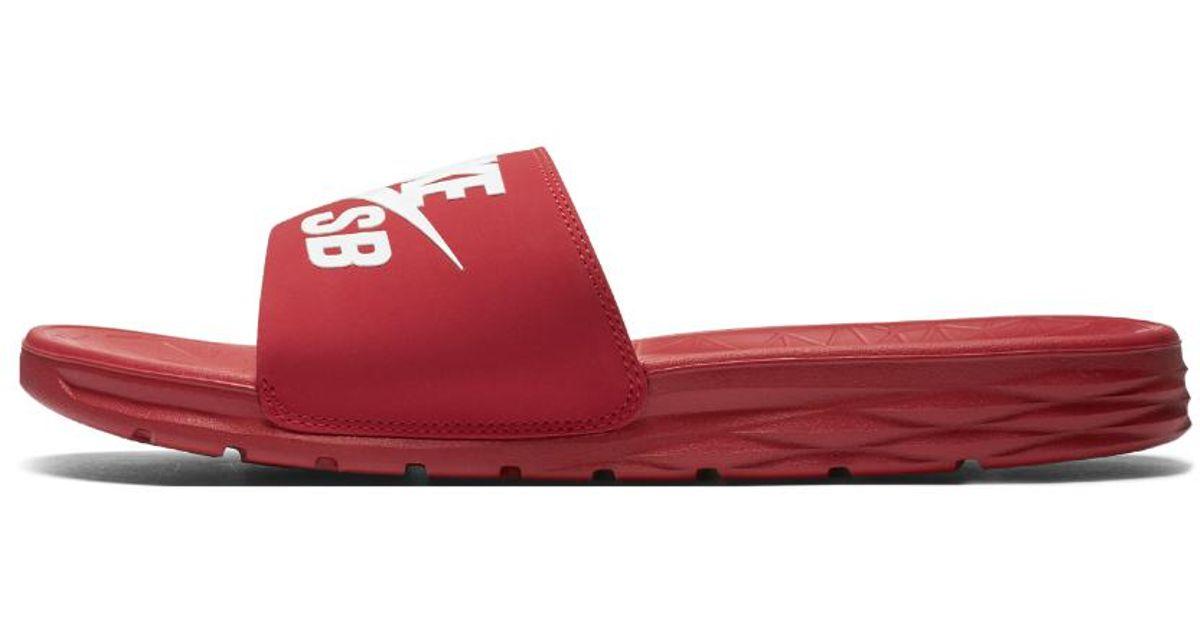 Nike Red Sb Benassi Solarsoft Men's Slide for men