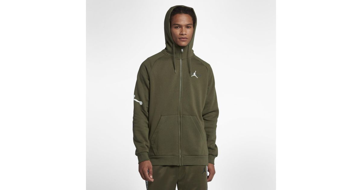863259dd9403 Nike Jordan Jumpman Air Fleece Full-zip Hoodie in Green for Men - Lyst