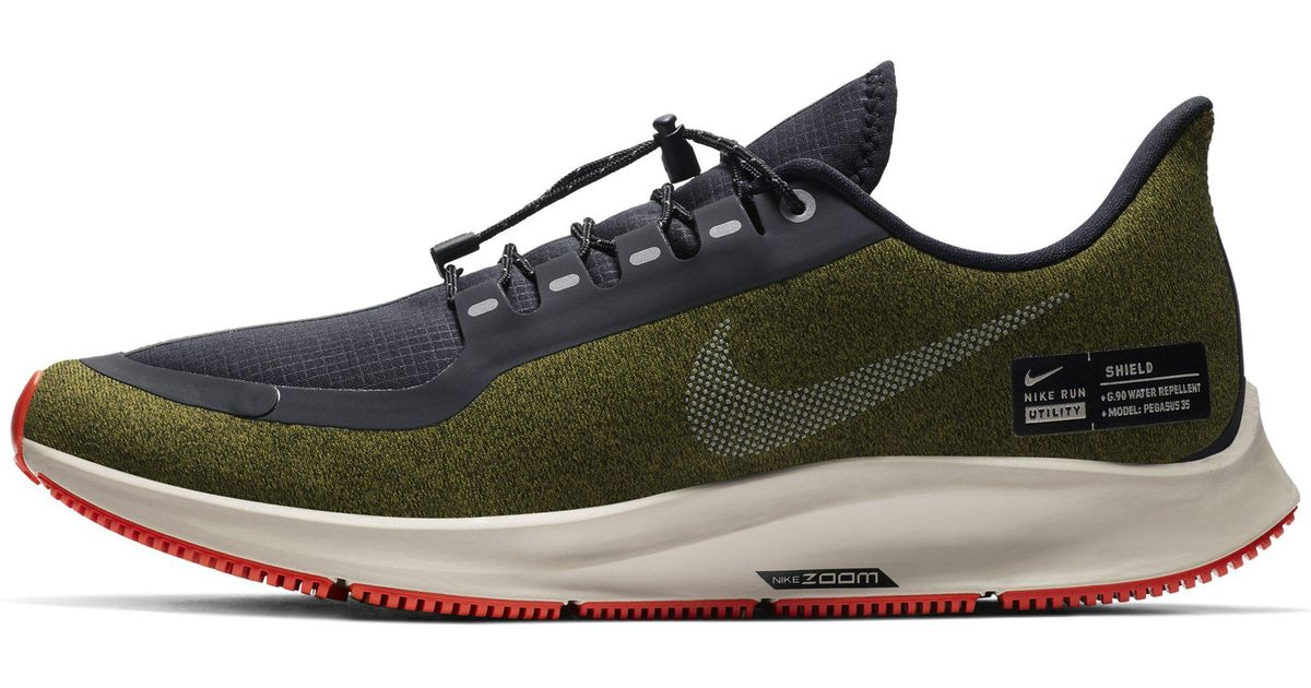 info for 35935 18dbb Nike Multicolor Air Zoom Pegasus 35 Shield (olive Flak/metallic  Silver/black/string) Running Shoes for men