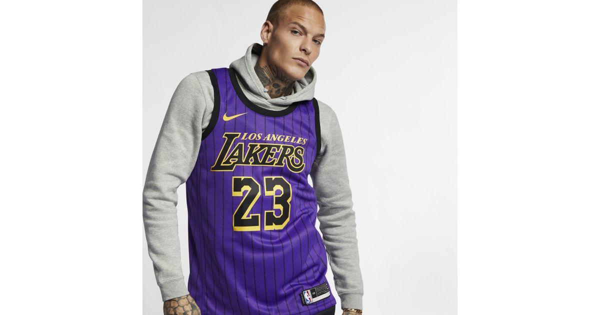 competitive price 01206 8864c Nike - Purple Lebron James Nba City Edition Swingman Jersey for Men - Lyst