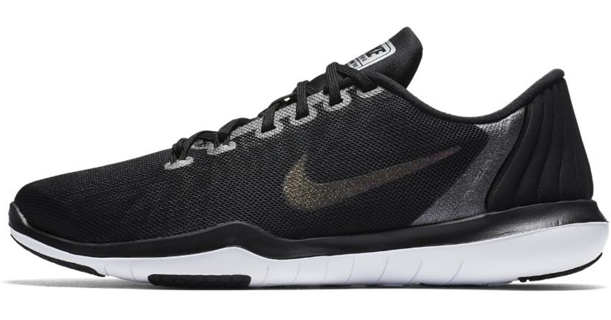 98b2b9bcc ... Lyst - Nike Flex Supreme Tr 5 Metallic Women s Training Shoe in Black  ...