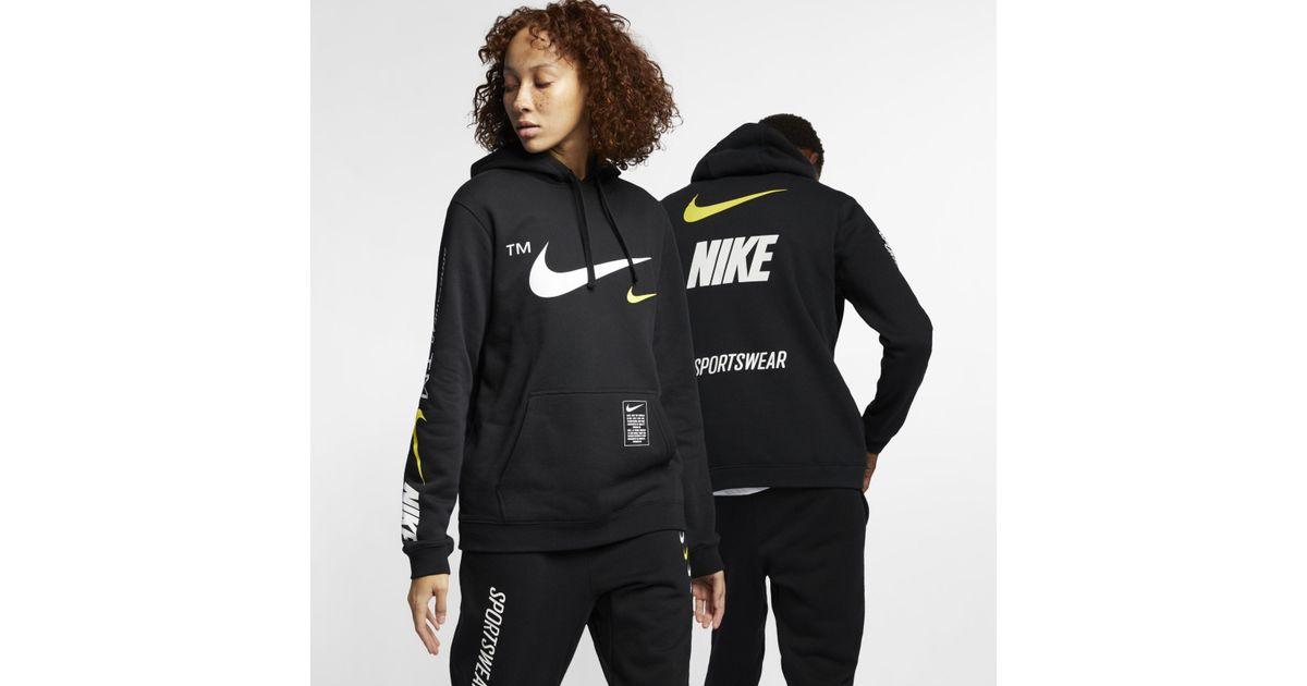 Black Sportswear Nike Hoodie Pullover Club K1J5F3Tulc