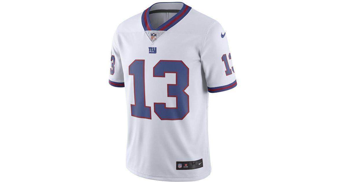 new product 19279 07b16 Nike White Odell Beckham Jr. New York Giants Limited Color Rush Jersey for  men