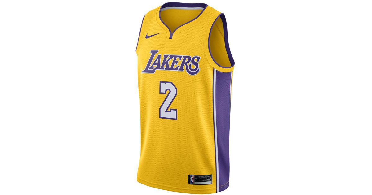 best service 3cd97 8b754 Nike Yellow Lonzo Ball Icon Edition Swingman Jersey (los Angeles Lakers)  Men's Nba Connected Jersey for men