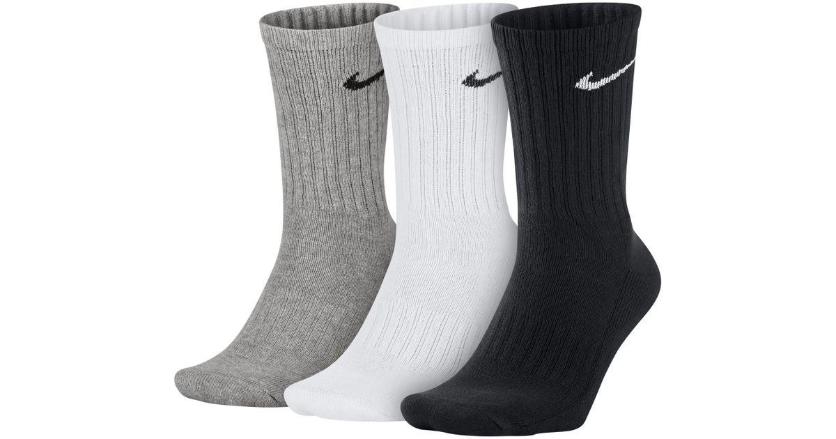 bb549b17c2bf Nike Value Cotton Crew Socks (3 Pair) in Gray - Lyst