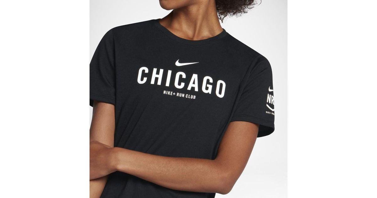 66eec391e5a5 Lyst - Nike Dry Nrc (chicago) Women s Running T-shirt in Black