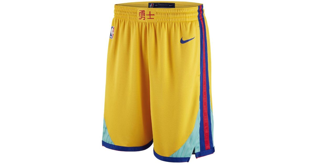fresh styles popular stores most popular Nike Yellow Nba Golden State City Edition Swingman Shorts for men