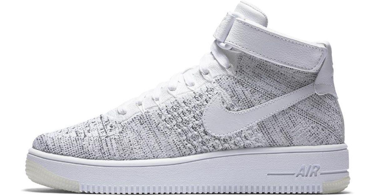 Nike Leather Air Force 1 Ultra Flyknit Women S Shoe In White Black