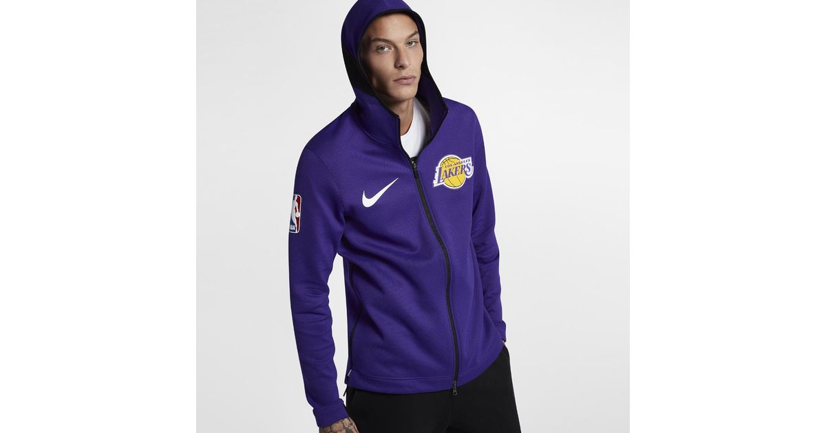 Nike Purple Los Angeles Lakers Therma Flex Showtime Men's Nba Hoodie for men
