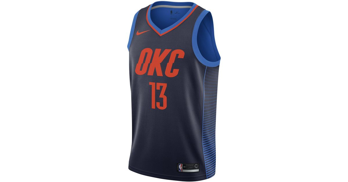 aef23399fe3f Nike Paul George Statement Edition Swingman (oklahoma City Thunder) Nba  Connected Jersey in Blue for Men - Lyst