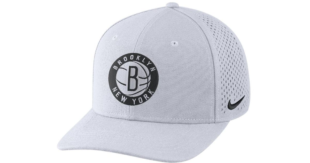 on sale 68db3 189ee ... discount lyst nike brooklyn nets aerobill classic99 adjustable nba hat  white in white for men c10ce