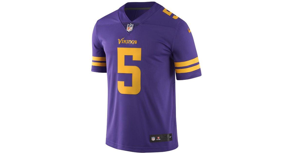 online store ade54 fe2c0 Nike - Purple Nfl Minnesota Vikings Color Rush Limited (teddy Bridgewater)  Men's Football Jersey for Men - Lyst