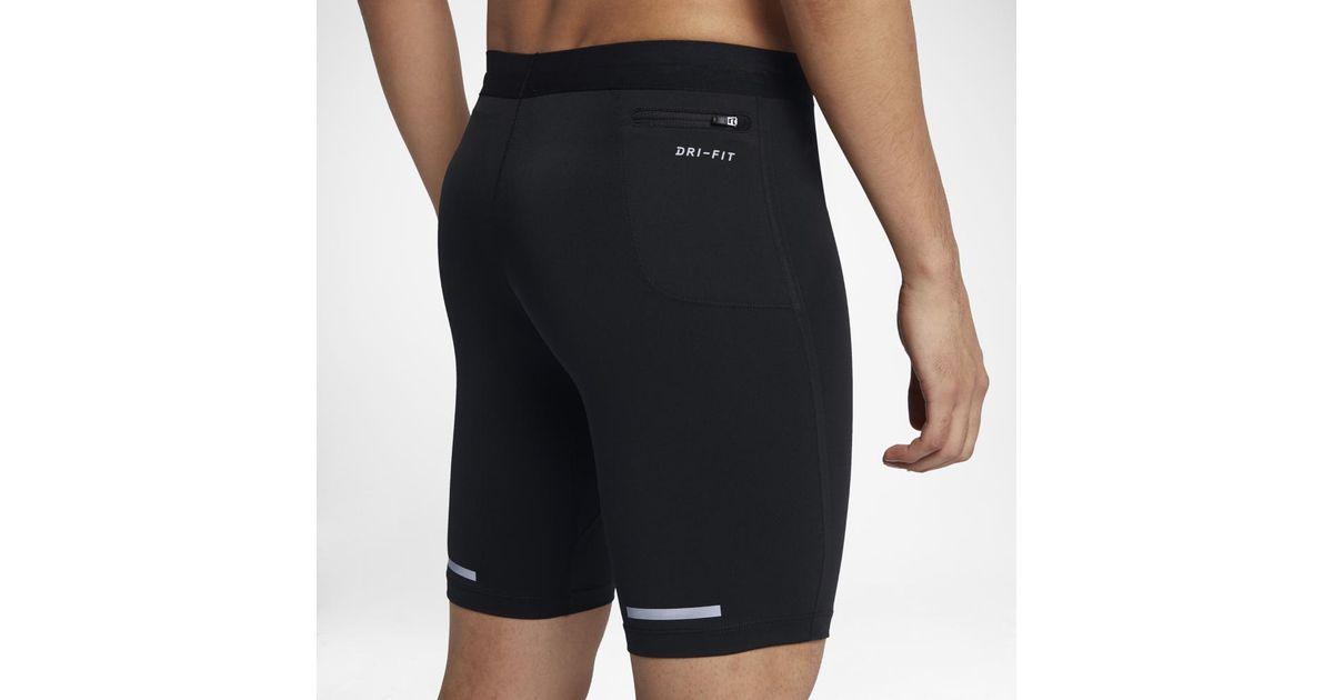 f73ce6c90e540 Nike Power Tech Men's Half Running Tights in Black for Men - Lyst