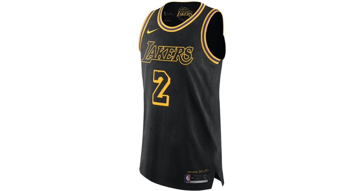 wholesale dealer 8fb31 76e8c Nike Black Lonzo Ball City Edition Authentic Jersey (los Angeles Lakers)  Nba Connected Jersey for men