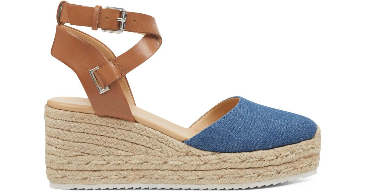 9158e07a6 Nine West Ava Espadrille Wedge Sandals in Blue - Lyst