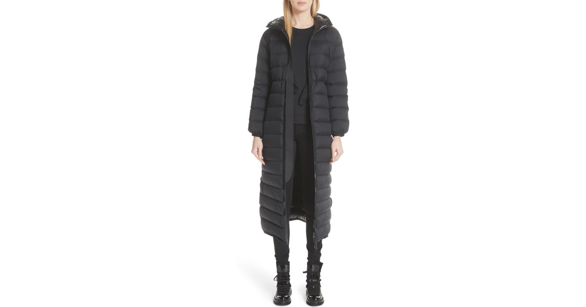 Moncler Black Grue Long Quilted Down Coat