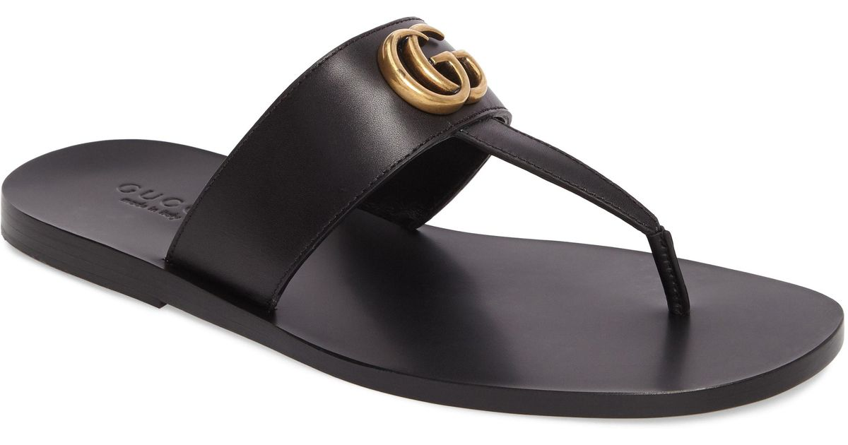 dffcbacdb4e5e Lyst - Gucci Marmont Double G Leather Thong Sandal for Men
