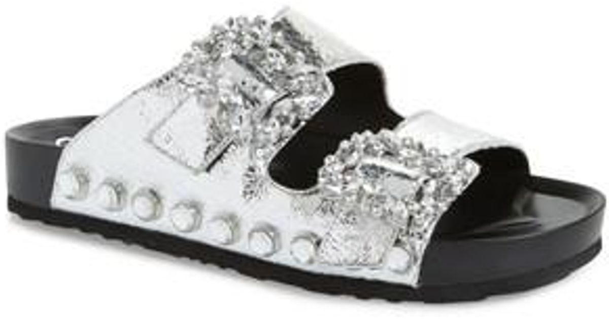 Jessica Simpson Gemelia Two Strap Jeweled Buckle Slides vWlH0CX0Gq