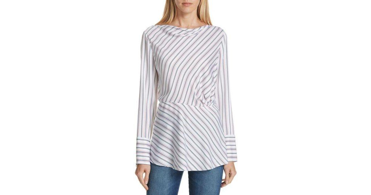 f9dec5da6d2030 Lyst - LEWIT Stripe Stretch Silk Blouse in White