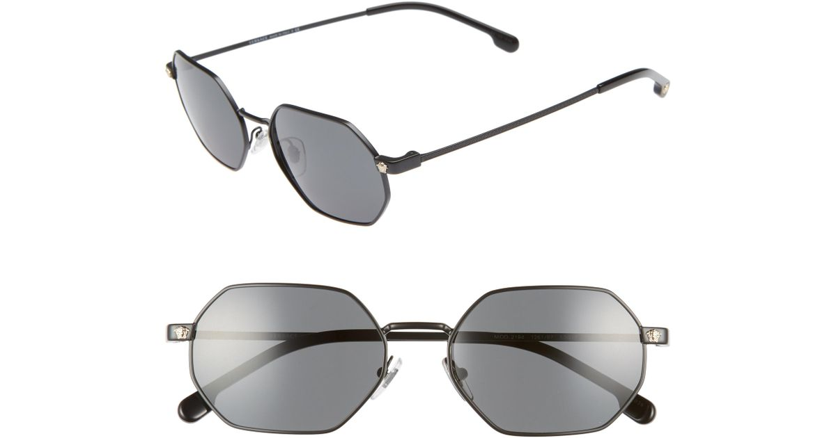 99e515138df Lyst - Versace 53mm Hexagon Sunglasses - in Gray