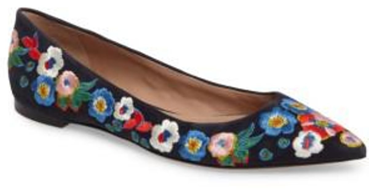 d040058461a9 Lyst - Tory Burch Rosemont Flower Embroidered Flat in Blue